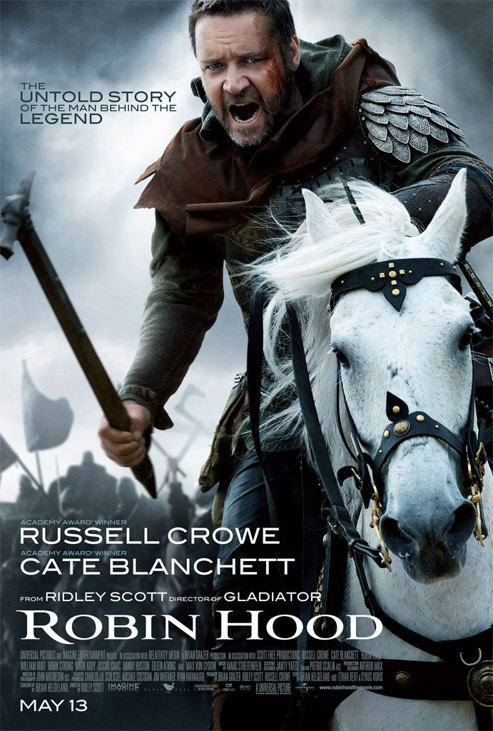 ROBIN HOOD (2010) - When Robin happens upon the dying Robert of Loxley, he promises to return the man's sword to his family in this big-budget twist on the classic tale. There, Robin assumes Robert's identity; romances his widow; and draws the ire of the town sheriff.
