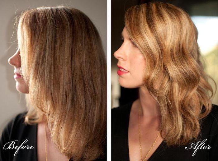 haare locken, vor und nach, frisuren mit lockenstab, schnell einfach und easy, mittellange haare