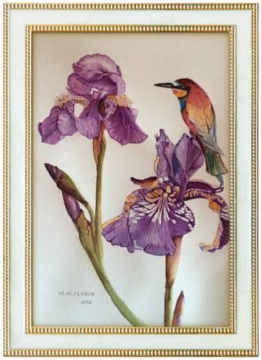 Purples Lilies & Bird