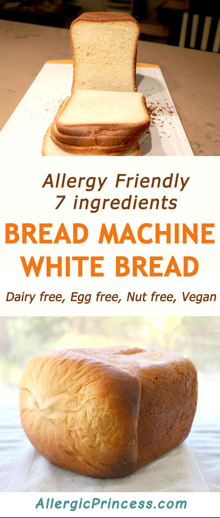Classic dairy free bread machine white bread is easy to make by just adding 7 ingredients into the bread machine and switching it on. EGG FREE, DAIRY FREE, NUT FREE, VEGAN