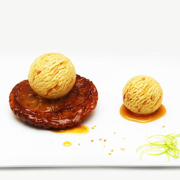 """Mini pineapple-rum tarte tatin, with two scoops of """"Caramelita"""" (a deliciously creamy caramel ice cream rippled with caramel bits from Läckerli Huus.)"""