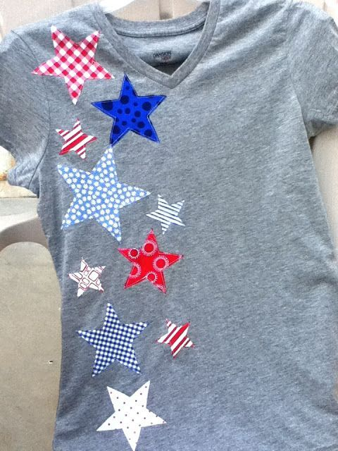 Appliqué stars on a t-shirt for a festive 4th of July Shirt.