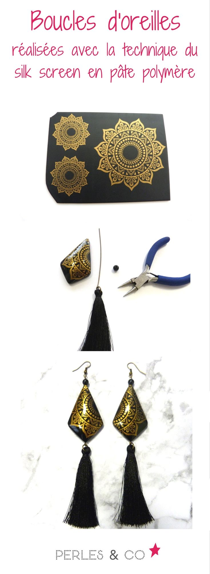 Tutoriel DIY pour réaliser une paire de boucles d'oreilles chics et dorées. Elles sont réalisées à partir d'uneplaque de pâte Fimo noire et un d'un écran silk -screen ( ou écran de sérigraphie) avec de la peinture dorée. Retrouvez le tutoriel sur le site de Perles & Co >> https://www.perlesandco.com/Boucles_d_oreilles_chics_silk_screen_en_pate_polymere-s-2566-6.html