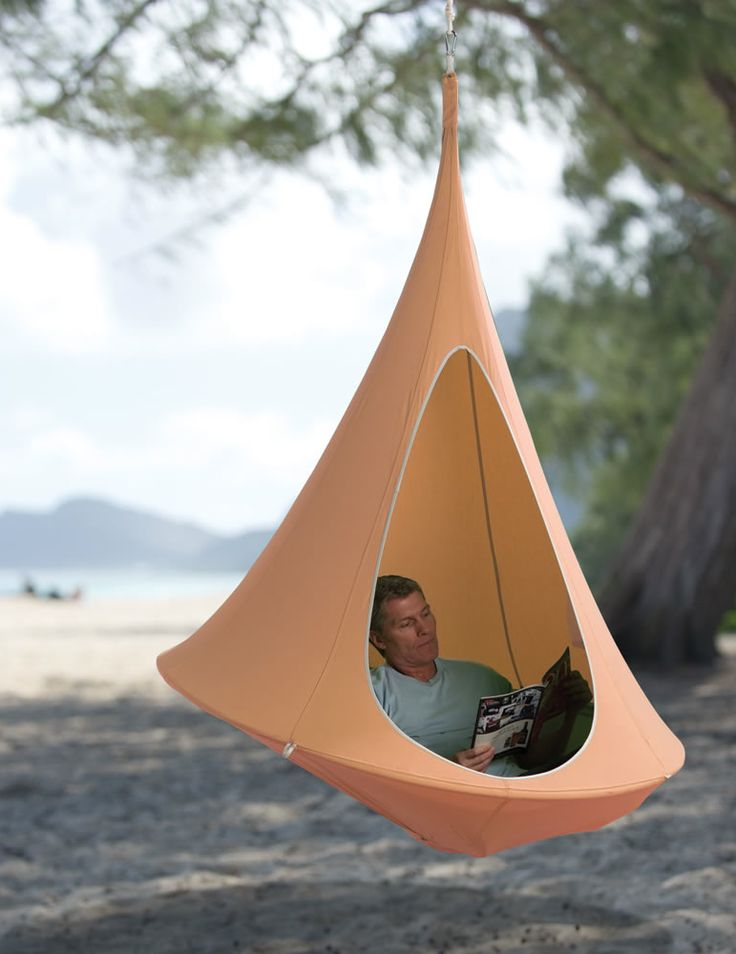 The Hanging Cocoon. I so want one! The only thing it needs is mosquito netting for the opening.