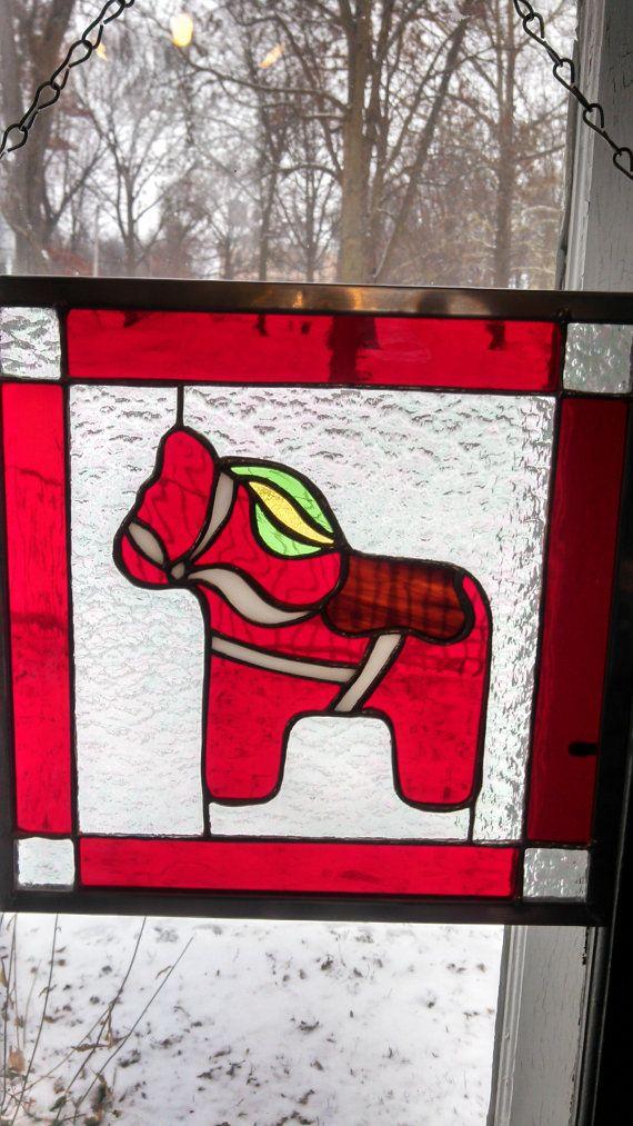 Swedish Dala Horse Stained Glass Panel on Etsy, $75.00