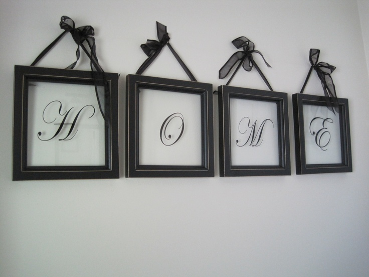 Decor frames, self adhesive alpha letters on glass, add ribbon . ..  perfect