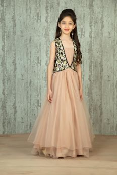Net gown with black jacket embellished with sequence, kasab and cutdana work. Item number KG16-06