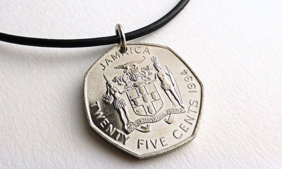 Jamaican Coin necklace Mens necklace Leather by CoinStories