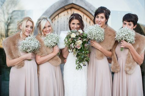 Bridesmaid Portrait | Lace Enzoani Isla Gown | Winter Wedding | Cripps Stone Barn | Bridesmaids in Dusky Pink Jaques-Vert Dresses & Fur Stoles | Gypsophila Bouquets | Image by Nicola Milns Photography | http://www.rockmywedding.co.uk/daniele-sam/