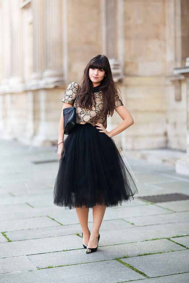 creative black tulle skirt outfit 10