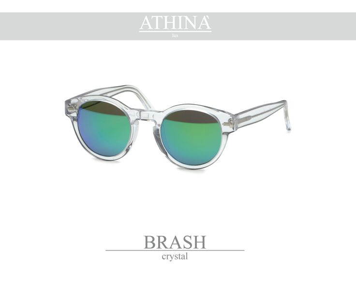 Mod. BRA0101M02 Made with light, crystal transparent coloured acetate of cellulose and mirror green lenses.