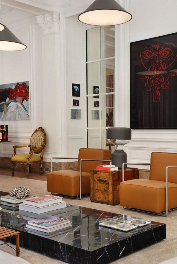 Living Room, Stunning Living Room With Intriguing Leather Chairs Astounding Marble Coffee Table Exciting Classic Chair Marvelous Pendant Lam...