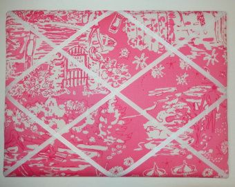 New memo board made with Lilly Pulitzer Skinny Dippin fabric