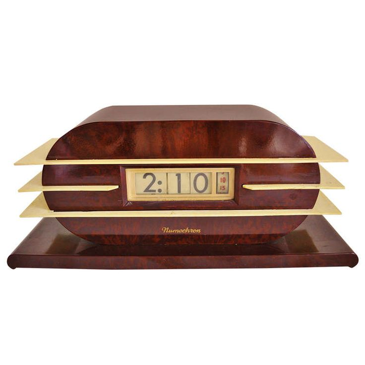 Rare American Art Deco, Machine Age Penwood Numechron Imperial Bakelite and Tenite Digital Electrical Flip Clock | From a unique collection of antique and modern clocks at https://www.1stdibs.com/furniture/more-furniture-collectibles/clocks/