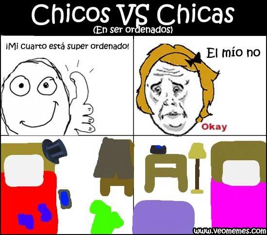 Memes de humor: Chicos VS Chicas (en ser ordenados) →  #memeschistosos #memesderisa #memesgraciosos #memesgratis #memesparafacebook