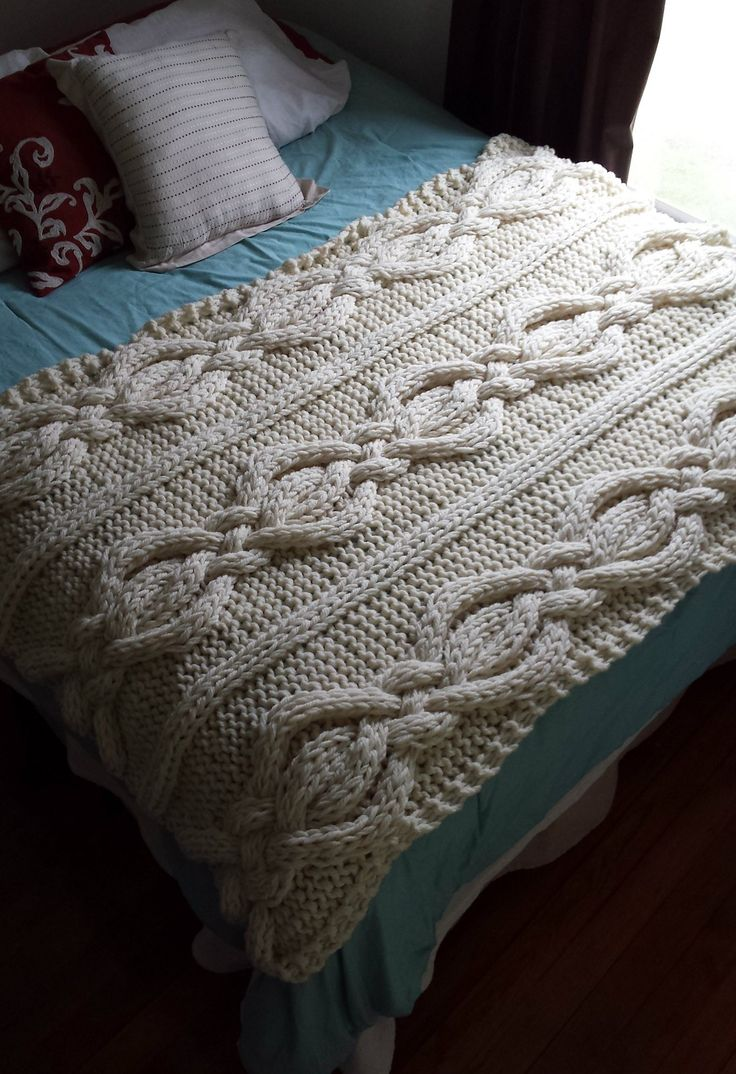 Knitting Pattern for Twisted Cable Blanket - Big braided cables framed by knit and purl stitches in super bulky yarn make this a fast heirloom afghan.
