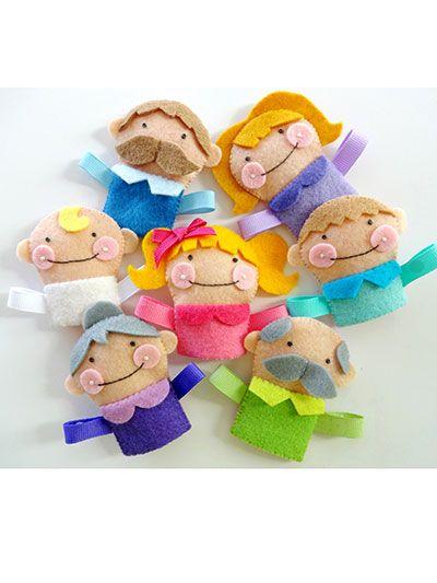 Sewing - Patterns for Children & Babies - Gift Patterns - Felt Finger Puppet Family