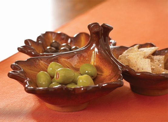Maple Leaf 3-Section Divided Dish.   Treat your guests to a trio of savory snacks or sweet nibbles with this generously-sized ceramic serving piece. $12.96