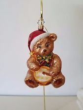 CHRISTOPHER RADKO Drumming TEDDY BEAR Ornament Christmas Teddy Bear