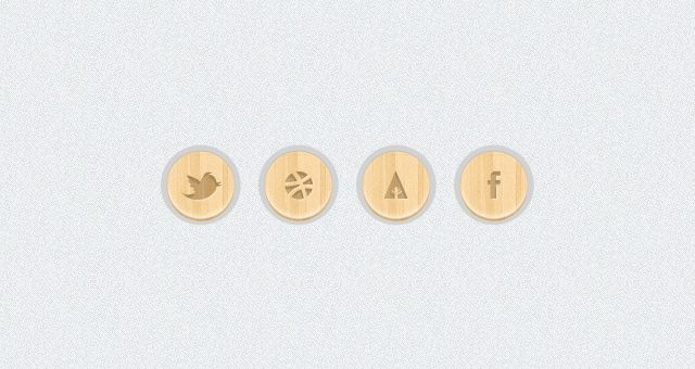 Wooden-Social-Icons: Ui Kit, Webdesign Free