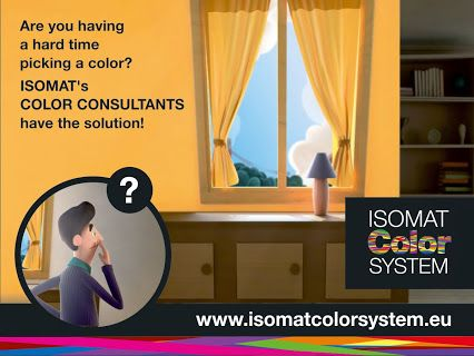 "Consult our team of decorators to choose the right color for any space of your house, office or shop, or even the exterior of your building. Visit www.isomatcolorsystem.eu and enter the section ""Color Consultants"" or click directly here: http://isomatcolorsystem.eu/en/advisors"