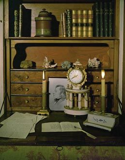 Writing desk in George Sand's study, portrait of her love Chopin in view...