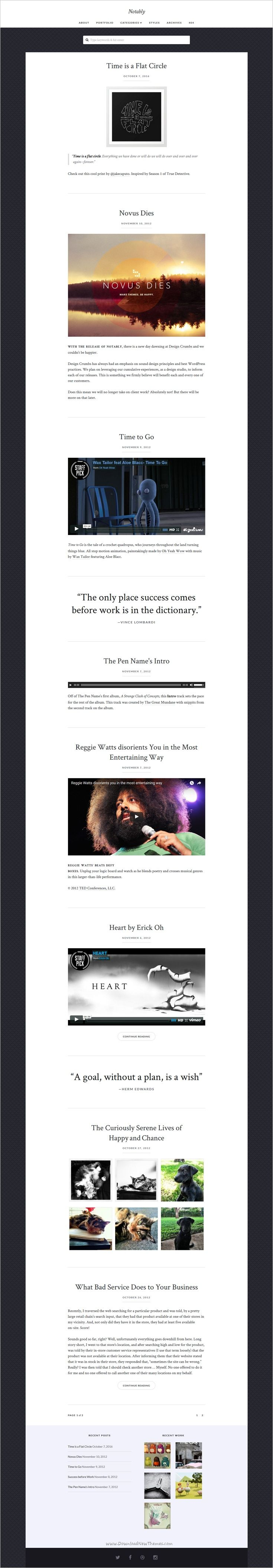 Notably is a mobile first fast loading responsive #WordPress theme for creative #bloggers and #writers website download now➩ https://themeforest.net/item/notably-a-wordpress-blogging-theme/18538566?ref=Datasata