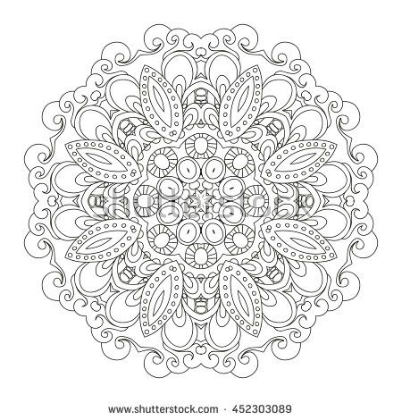 Outline Mandala for coloring book. Decorative round ornament. Anti-stress therapy pattern. Weave design element. Yoga logo, background for meditation poster. Unusual flower shape. Oriental vector.