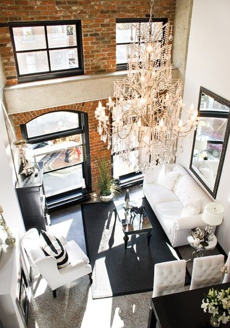: Exposed Bricks, Chandelier, Living Rooms, Bricks Wall, Black White, High Ceilings, Black Windows, Small Spaces, Expo Bricks