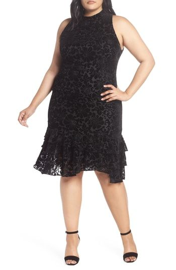 Chelsea28 Burnout Velvet Sheath Dress  Trendy Cocktail -1638