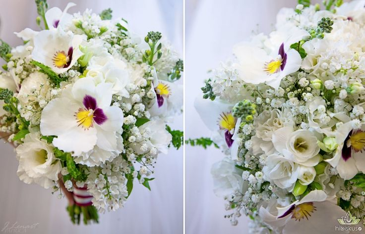 Bright wildflowers bouquet with Miltonia Orchid