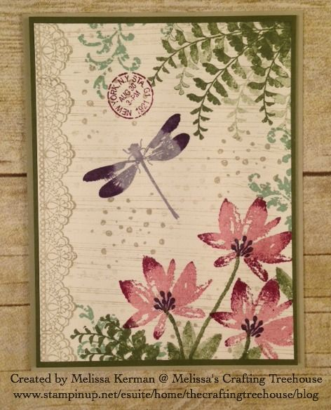 Team swap card featuring Avant Garden and Delicate Details from the 2017 Sale-a-Bration brochure. This card also uses the Butterfly Basics, Awesomely Artistic and Gorgeous Grunge Stamp Sets from the Annual Stampin' Up! Catalog.