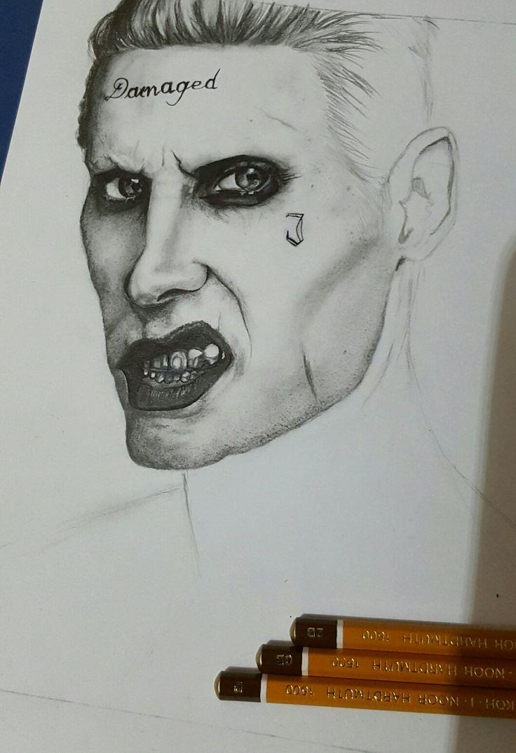 Niedokończony rysunek Jokera . Autor : Amelia.R jest on próbą odręcznej kopji zdjęcia znalezionego w Google