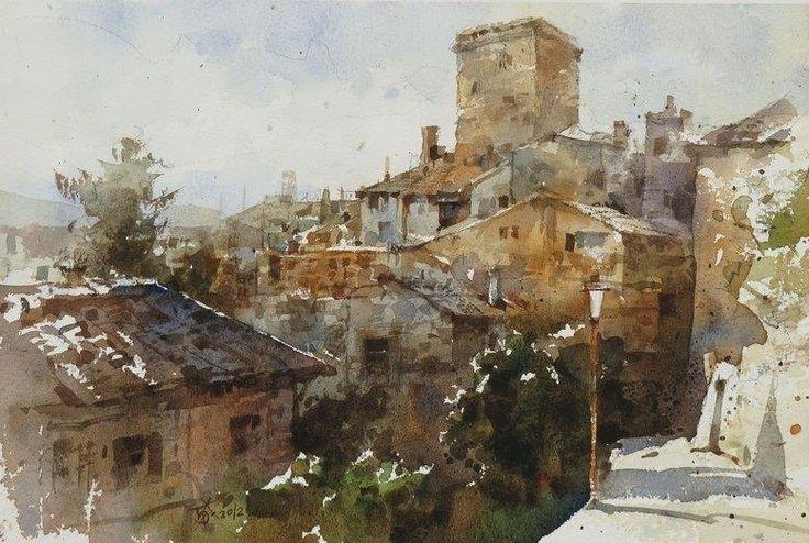 """San Gimignano"" 『聖吉米那諾風情』(2013) By Chien Chung Wei (also known as Prince Hibari) (簡忠威), from Taipei, Taiwan - watercolor -"
