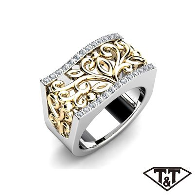 T & T ornate gold anniversary ring with encrusted round brilliant diamonds