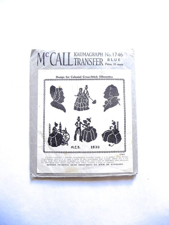 McCall Kaumagraph Transfer No 1746 Colonial Cross-Stitch