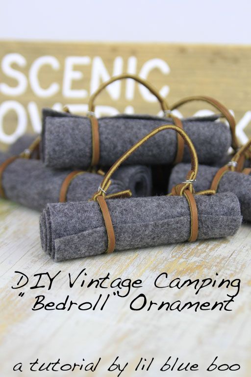 How to make DIY Ornaments - Camping and Hiking Themed for this year. Make this easy vintage bedroll ornament using felt, wire and leather lace.