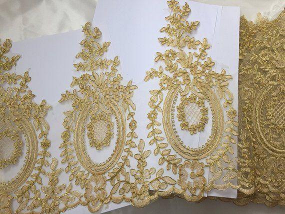 0b7973fdeae5e Gold Lace Trim, Golden Alencon Lace Trim, Gold Corded Lace Trim ...