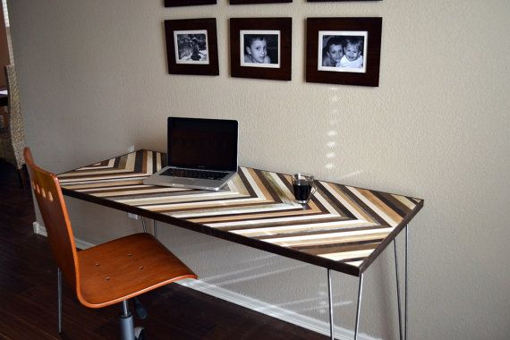 Chevron Desk with Hairpin legs  Wood Table  by moderntextures