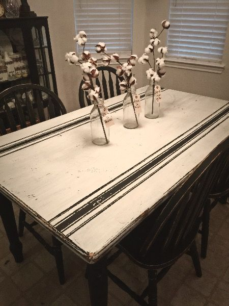 Chalk painted farm table with French grain sack design and four chairs.  Pam Hancock Designs