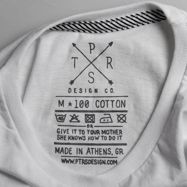 PTRSdesign CO. t-shirt label clothing tag washing instructions