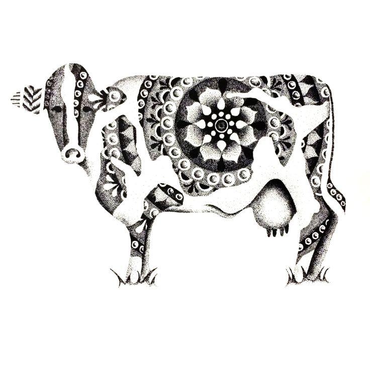 POINTILLISM cow print by StudioAmyLynn on Etsy https://www.etsy.com/listing/262684584/pointillism-cow-print