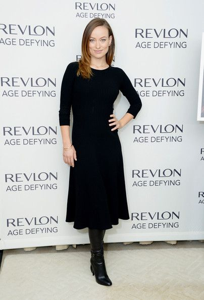 Olivia Wilde Sweater Dress - Olivia Wilde was low-key in a navy sweater dress by The Row during Revlon's New Age Defying collection launch.