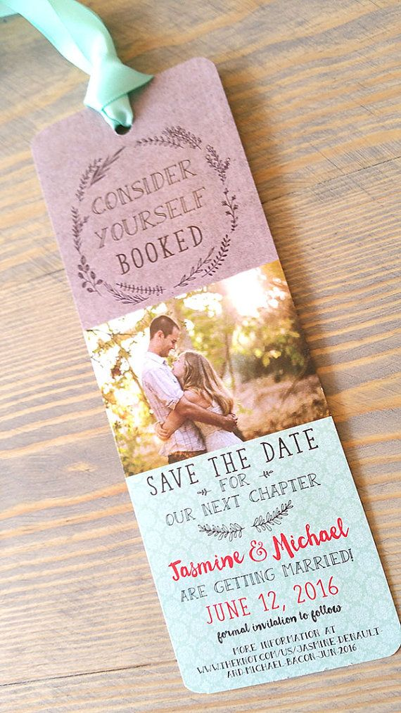 These bookmark save the dates are a great way let your friends and family know youve set your date. They can add it to their favorite book, and each time they open it, they will think of you! These bookmarks are made individually and are completely customizable; including choice of ribbon.  Save the date bookmarks & envelopes pricing includes:  Size: 2.5x7 Bookmark single sided Paper Choices: White 100 lb. matte cover stock [they are not printed on photo paper with a photo printer] Envelo...