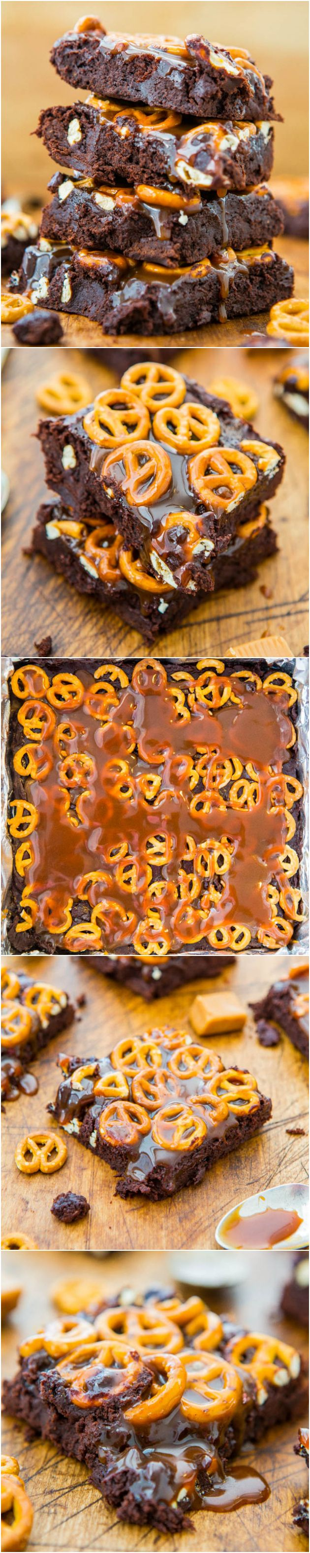Salted Caramel Pretzel Fudgy Brownies - Supremely fudgy scratch brownies as easy as a mix. Salty-and-sweet & dripping in caramel!