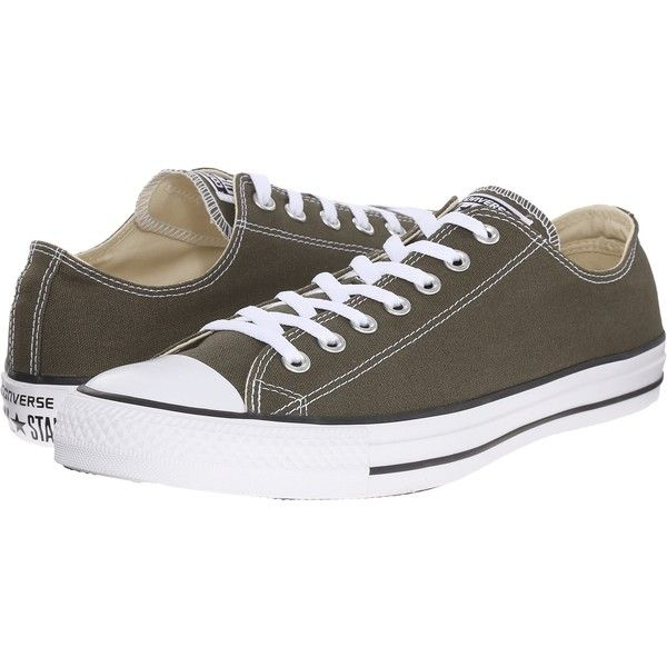 Converse Chuck Taylor All Star Seasonal OX (Herbal/White/Black)... (£26) ❤ liked on Polyvore featuring shoes, olive, metallic lace up shoes, converse shoes, lace up shoes, army green shoes and laced up shoes