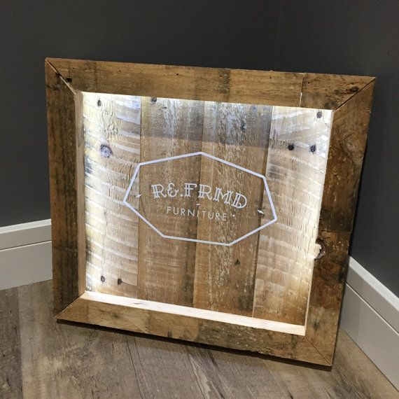 led pallet wood sign with custom graphic quote made to order