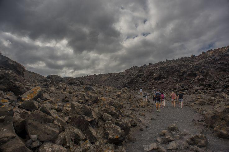 gloomy weather over island Nea Kameni.