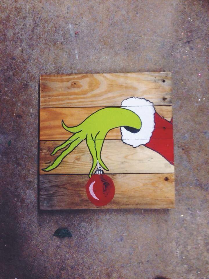 The Grinch on pallet wood! Perfect for fun Christmas decor. #christmasdecor…