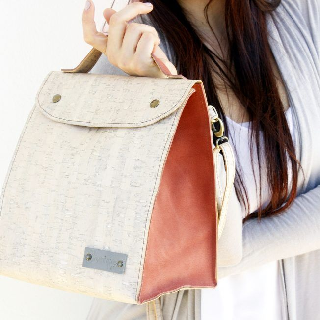 Handmade white pearl cork and dirty peach suede minibag. Can be used as backpack, messenger or shoulder bag.